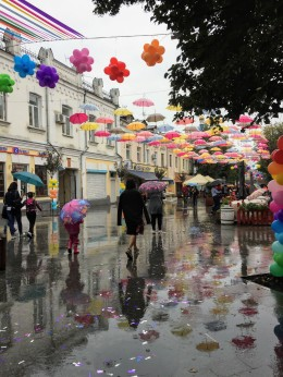 Mykhailivska Street in the city center. A pedestrian street lined with shops, it also has a stage and is the place that festivals and celebrations happen.