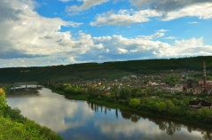 The view from Upper Park, overlooking the Dniester river and the neighboring village